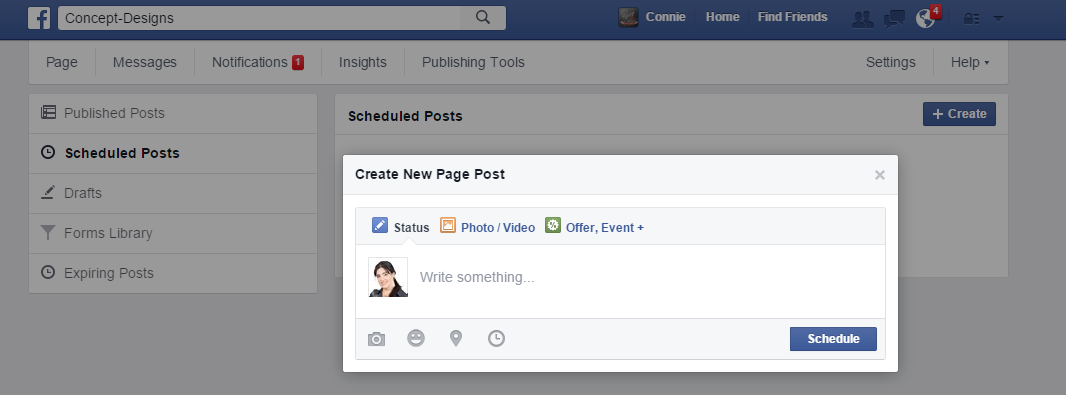 Manage Facebook Page Schedule Post Publish Concept Design Marketing Web Gold Coast